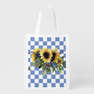 Sunflower Bouquet on Blue Checks Reusable Grocery Bag