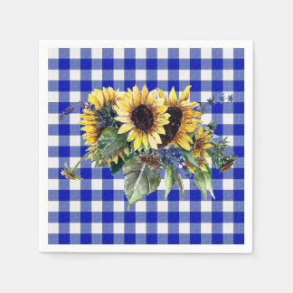 Sunflower Bouquet on Blue Gingham Disposable Serviette