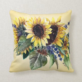 Sunflower Bouquet on Pale Yellow Cushion