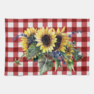 Sunflower Bouquet on Red Gingham Tea Towel