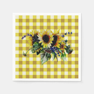 Sunflower Bouquet on Yellow Gingham Disposable Serviette
