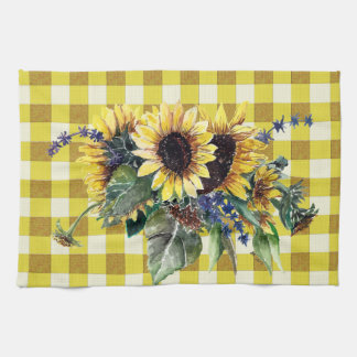 Sunflower Bouquet on Yellow Gingham Hand Towels