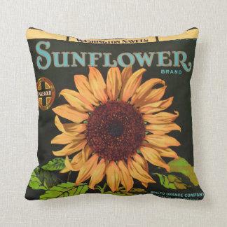 Sunflower Brand Orange Fruit Crate Label Cushion