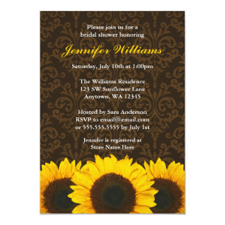 Sunflower Brown Damask Bridal Shower 13 Cm X 18 Cm Invitation Card