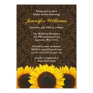 Sunflower Brown Damask Bridal Shower 5x7 Paper Invitation Card