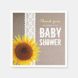 Sunflower Burlap & Crochet Lace Baby Shower Disposable Serviette