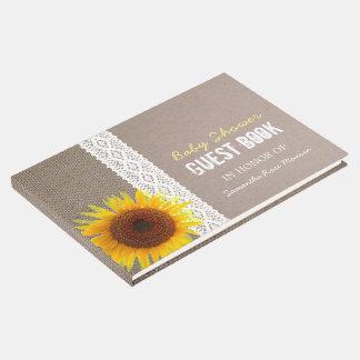 Sunflower Burlap & Crochet Lace Baby Shower Guest Book