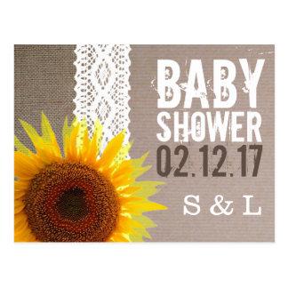 Sunflower Burlap & Crochet Lace Baby Shower Invite Postcard