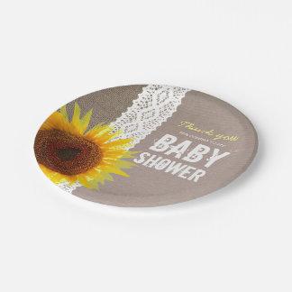 Sunflower Burlap & Crochet Lace Baby Shower Paper Plate