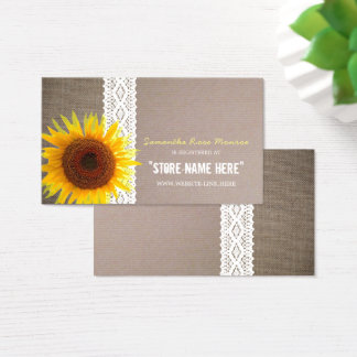 Sunflower Burlap & Lace Baby Shower Gift Registry Business Card