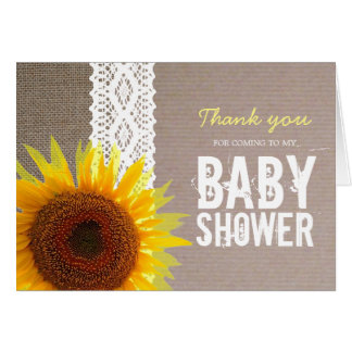 Sunflower Burlap & Lace Baby Shower Thank You Card