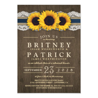 Sunflower Burlap Lace Rehearsal Dinner Invitations