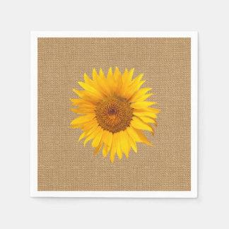 Sunflower Burlap Rustic Wedding Disposable Napkin