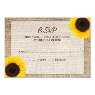 Sunflower Burlap Wedding RSVP Response Card 9 Cm X 13 Cm Invitation Card