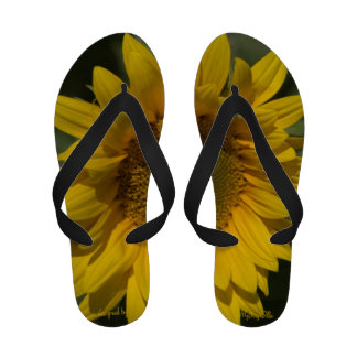 """Sunflower"" by mysteryella Flip Flops"