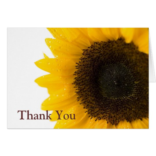 sunflower by Petr Kratochvil, Thank You Note Note Card