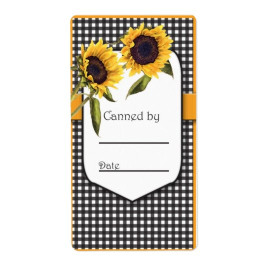 Sunflower Canning Jar Label