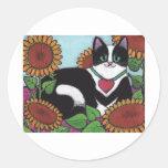 Sunflower Cat Round Stickers