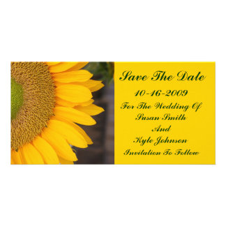 Sunflower Center Floral Wedding Save The Date Customized Photo Card