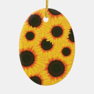 Sunflower Ceramic Oval Decoration