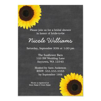 Sunflower Chalkboard Bridal Shower Invitations