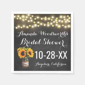 Sunflower Chalkboard Country Rustic Bridal Shower Disposable Napkin
