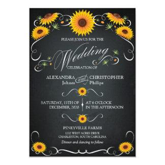 Sunflower Chalkboard Floral Vintage Bold Wedding Card
