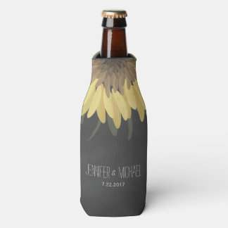 Sunflower Chalkboard Rustic Wedding Bottle Cooler
