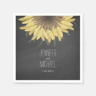 Sunflower Chalkboard Rustic Wedding Disposable Serviette