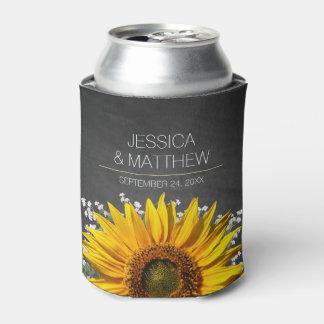 Sunflower Chalkboard Wedding Can Cooler