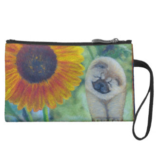 Sunflower Chow Chow Suede Wristlet