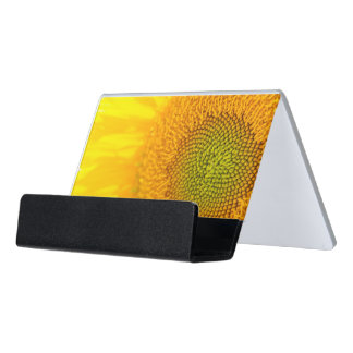 Sunflower Close Up Photgraph Desk Business Card Holder