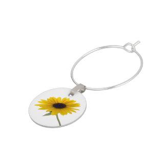 Sunflower Close Up Photograph Wine Charm