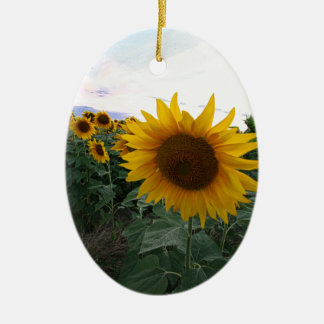 Sunflower Closeup Ceramic Ornament