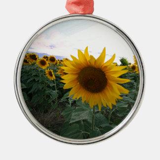 Sunflower Closeup Metal Ornament
