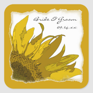 Sunflower Corner Wedding Envelope Seals