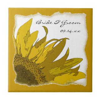 Sunflower Corner Wedding Tile