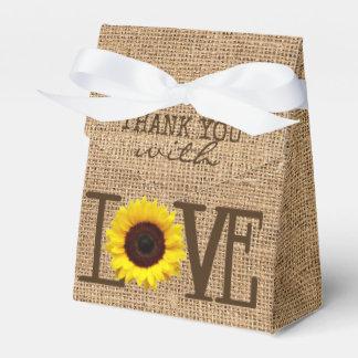 Sunflower Country Burlap Print Bridal Shower Favour Box