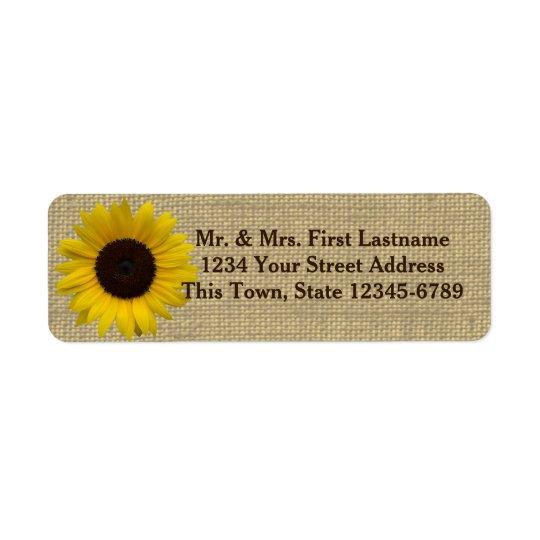 Sunflower Country Burlap Return Address Label