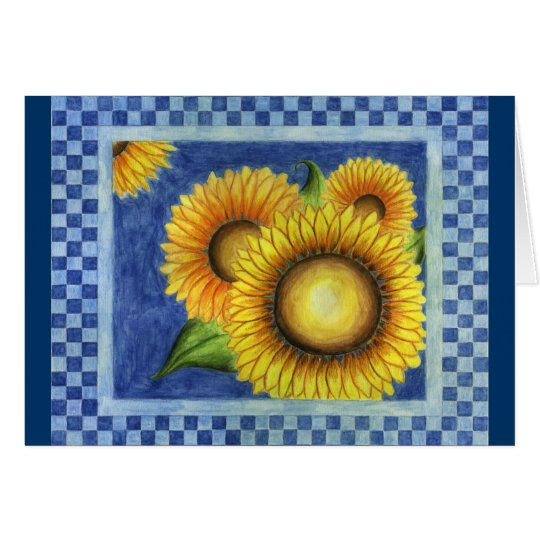 Sunflower Country Folk Art Card Invitation