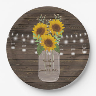 Sunflower Country Wood Mason Jar Wedding Paper Plate
