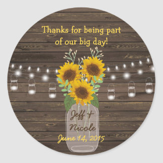 Sunflower Country Wood Mason Jar Wedding Round Sticker