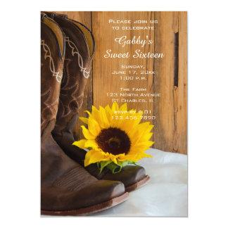 Sunflower Cowboy Boot Sweet 16 Barn Birthday Party 13 Cm X 18 Cm Invitation Card