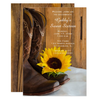 Sunflower Cowboy Boot Sweet 16 Barn Birthday Party Card