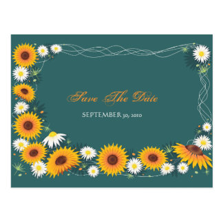 Sunflower Daisy Save the Date Wedding Announcement Postcard
