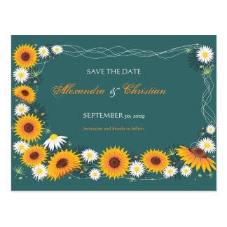 Sunflower Daisy Save the Date Wedding Announcement Postcard