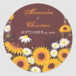 Sunflower Daisy Save The Date Wedding Announcement Round Sticker