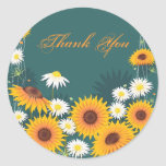 Sunflower Daisy Thank You Round Sticker