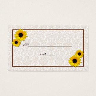Sunflower Damask Floral Wedding Place Cards