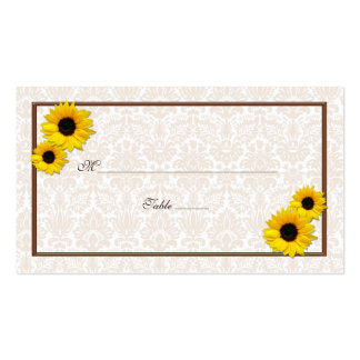 Sunflower Damask Floral Wedding Place Cards Pack Of Standard Business Cards